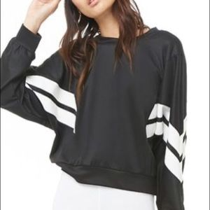 F21 Cropped Chevron Trim Sweatshirt